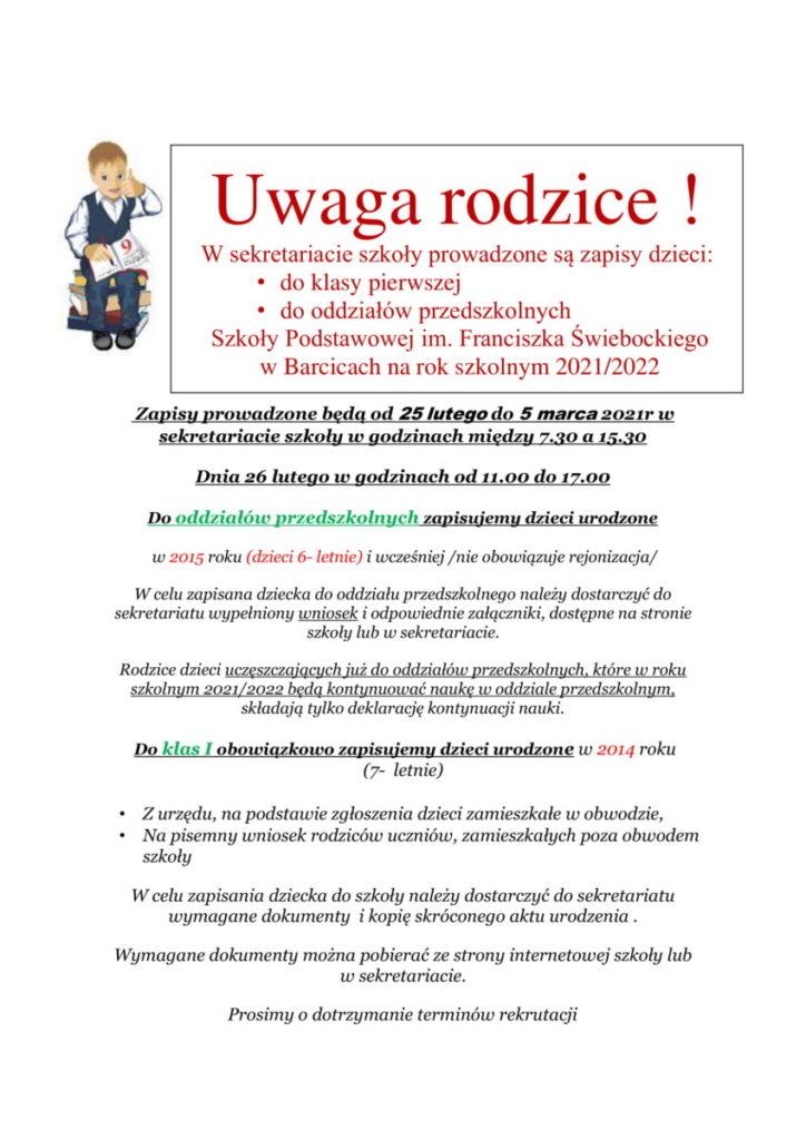 Rekrutacja Ogloszenie Parafia 2021 1